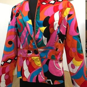 Psychedelic Colorful Blazer Jacket Size 8 Medium
